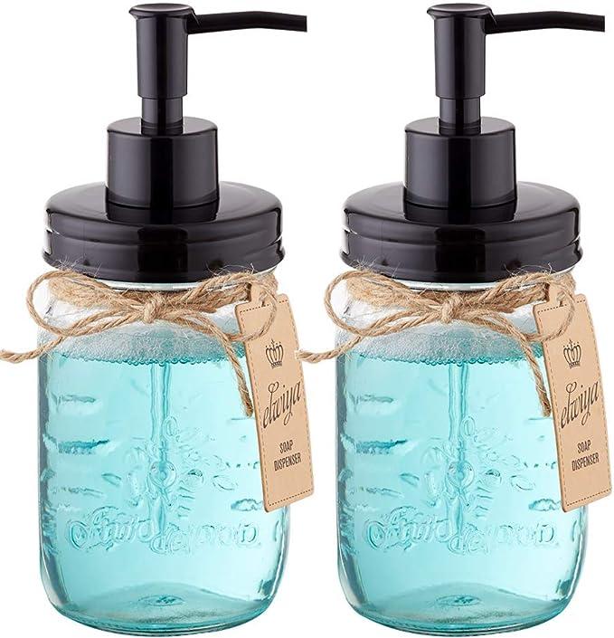 2 Pack Elwiya Mason Jar Syrup /& Honey Dispenser Pump Lids Rust Proof Plastic Dispenser Lid for 16 oz Regular Mason Jar Kitchen and Table Decor