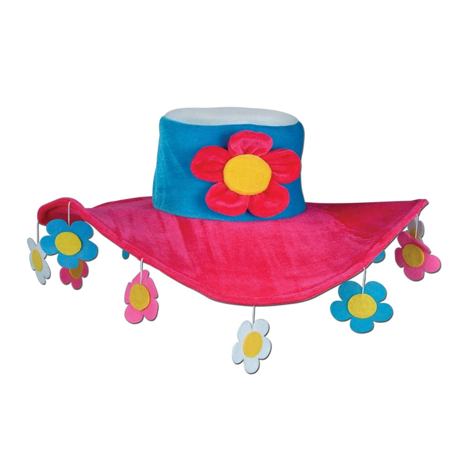 Club Pack of 6 Pink Blue Yellow and White 60's Inspired Plush Flower Power Party Hats