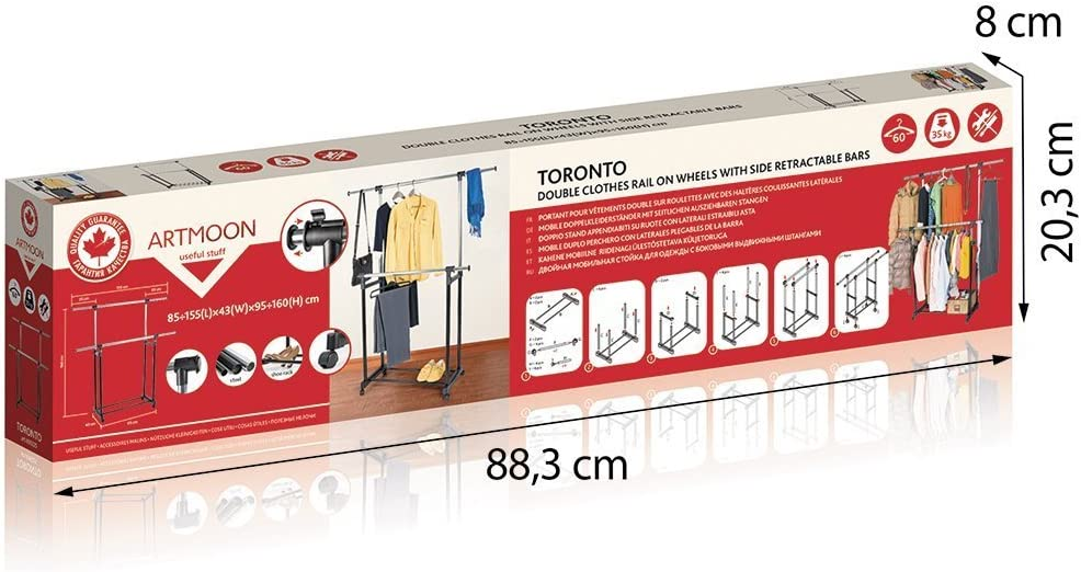 Toronto Perchero de Ropa con Ruedas Telescópico Longitud 85-155cm ...