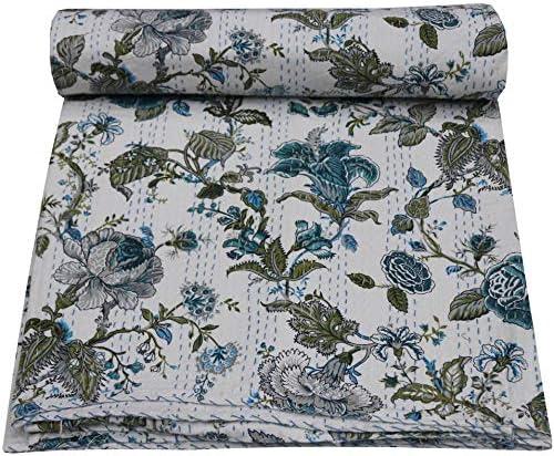 Indian Floral Print Cotton Queen Kantha Quilt Bedspread Bedding Blanket Throw