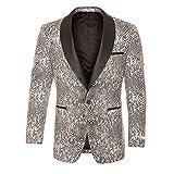 46L Ferrecci Ash Black & White Snake Slim Tuxedo Blazer