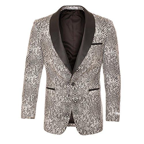Ferrecci 40S Ash Black & White Snake Slim Tuxedo Blazer