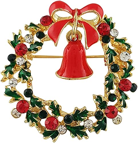 SELOVO Green Red Austrian Crystal Round Wreath Brooch Pin