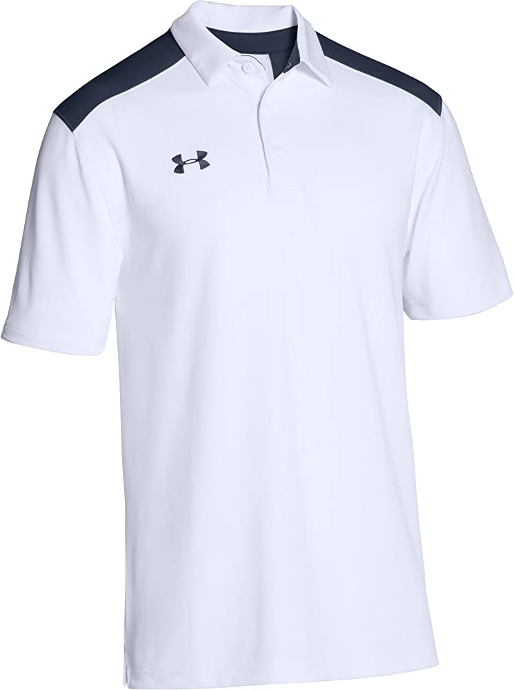 Under Armour Mens Team Armour Colorblock Polo (Large, White ...