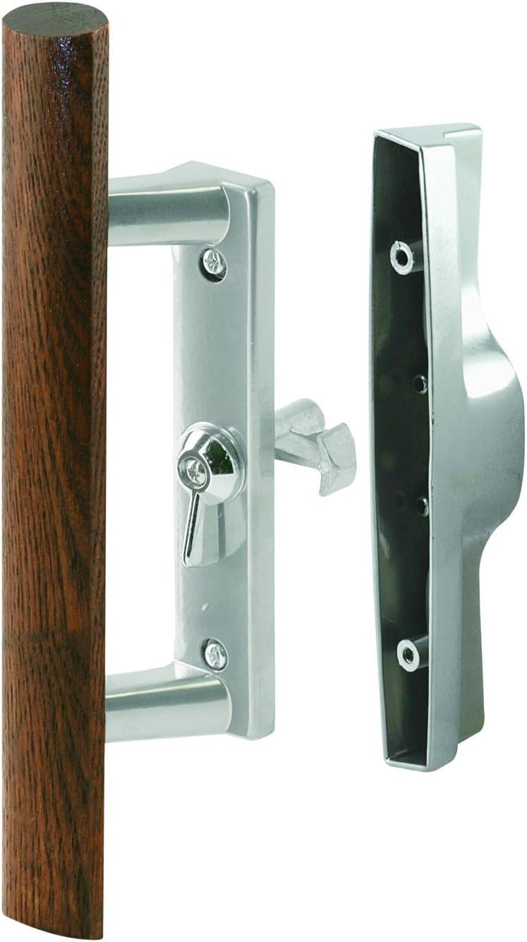 3-1//2 in Color Pack of 1 Internal Lock Alum Prime-Line Products C 1186 Patio Door Handle Set Diecast//Wood Aluminum