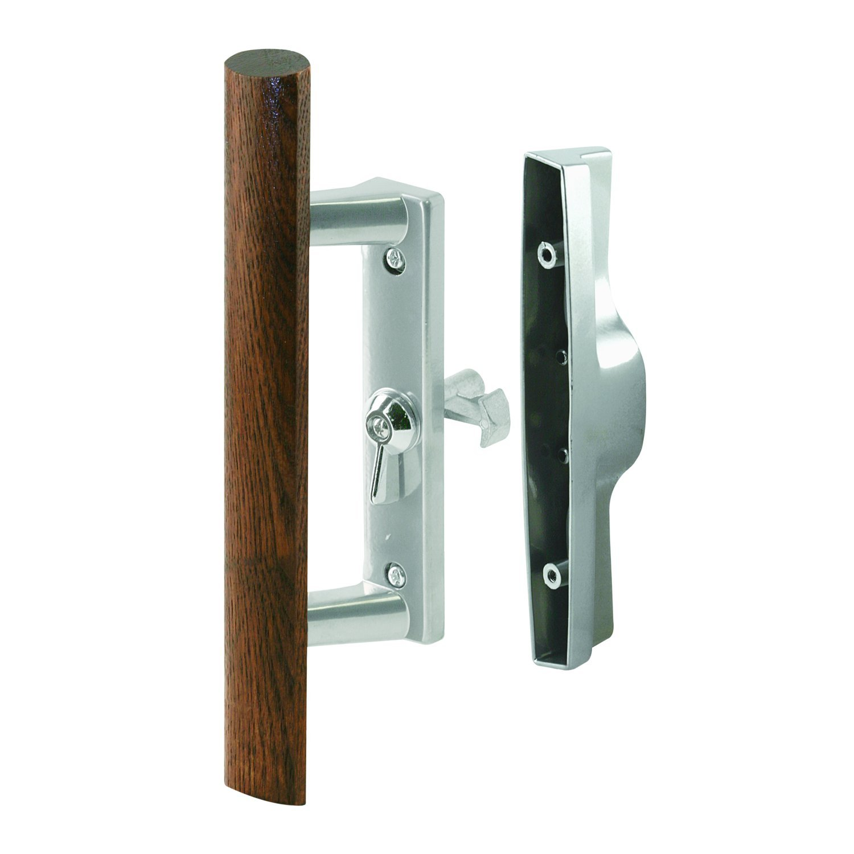 Prime-Line Products C 1242 Patio Door Handle Set, 3-1/2 In., Diecast/Wood, Alum. Color, Internal LOCK, Pack of 1