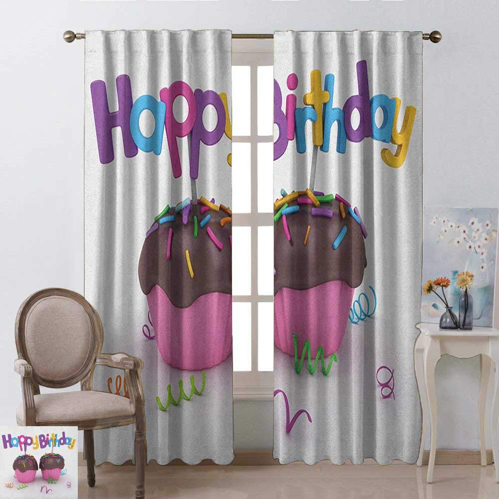 youpinnong Birthday, Curtains Bathroom Window, 3D Illustration of Chocolate Covered Cupcakes with Greetings Attached Celebration, Curtains Kids Room, W108 x L96 Inch, Multicolor by youpinnong