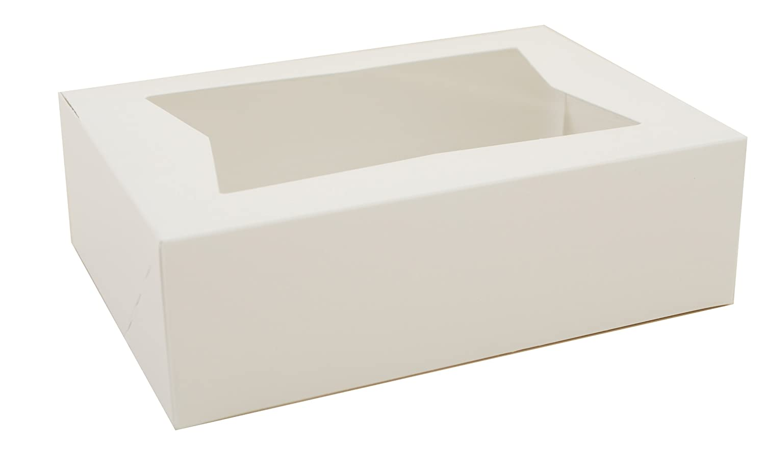 """Southern Champion Tray 24003 Paperboard White Window Bakery Box, 8"""" Length x 5-3/4"""" Width x 2-1/2"""" Height (Case of 200)"""