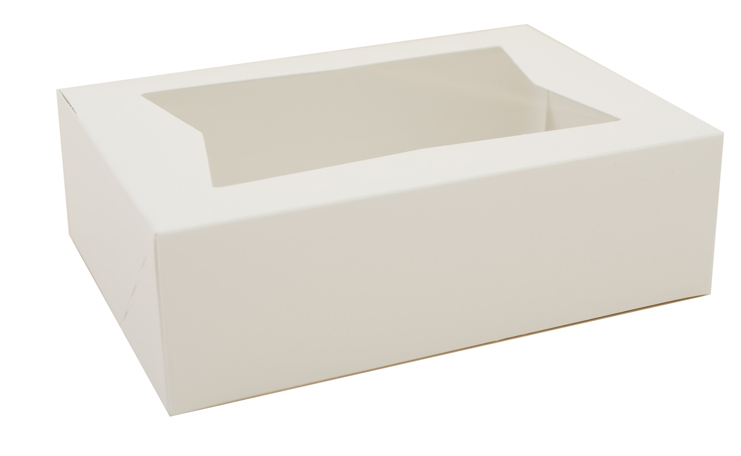 Southern Champion Tray 24003 Paperboard White Window Bakery Box, 8'' Length x 5-3/4 Width x 2-1/2 Height (Case of 200)
