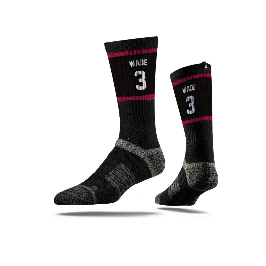 Strideline NBA Miami Heat Dwyane Wade Jersey Premium Athletic Crew Socks Black One Size
