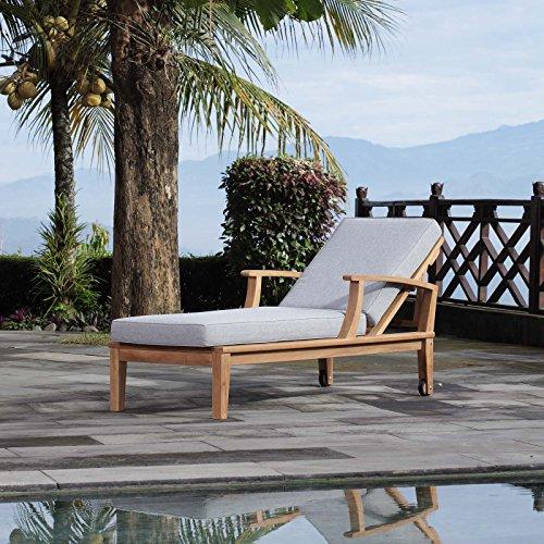 (Modway EEI-1151-NAT-GRY-SET Marina Premium Grade A Teak Wood Outdoor Patio Chaise Lounge Chair, Natural Gray)