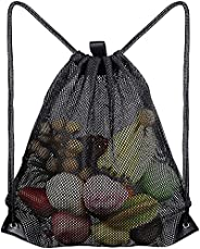 Mesh Drawstring Bag, Heavy Duty Drawstring Backpack Black Mesh Bags Sports Cinch Sack Multi Functional Mesh Eq