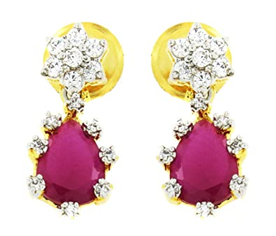 aedec5876 Buy ZIVOM® 7 Stone Flower Nakshatra 18K Gold Plated American Diamond Ruby  Red Stud Earring For Women Online at Low Prices in India | Amazon Jewellery  Store ...