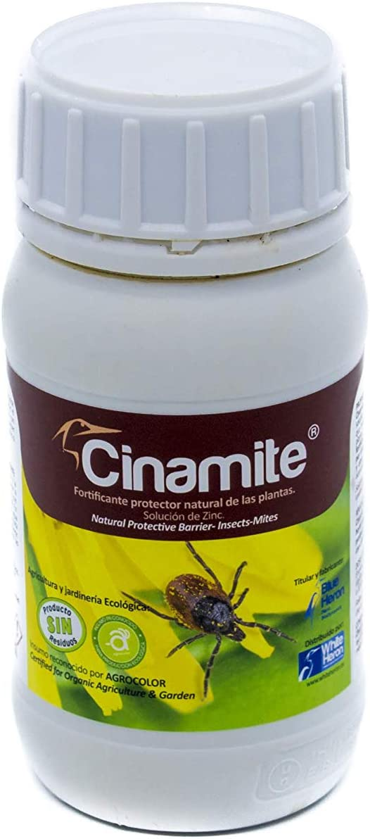 CINAMITE® (1000 m2). Insectos/Acaros/Araña; Fito-fortificante -Fertilizante Especial Concentrado. Plantas Interior/Exterior/Flores/Cultivos. Ecológico