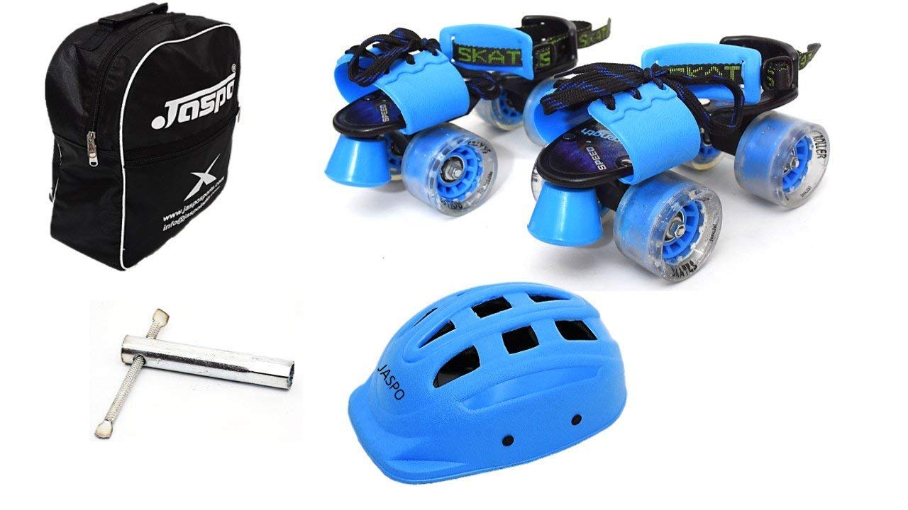 Jaspo Blue Derby Dual Adjustable Senior Roller Skates Combo Suitable for Age Group 6 to 14 Years