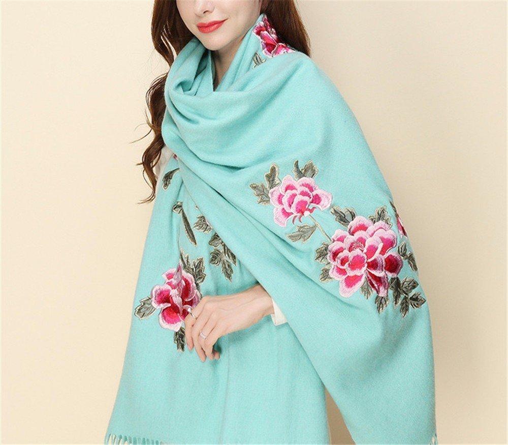 DIDIDD Bufanda de lana y bordado de invierno bufanda de señora lana engrosamiento chal,B
