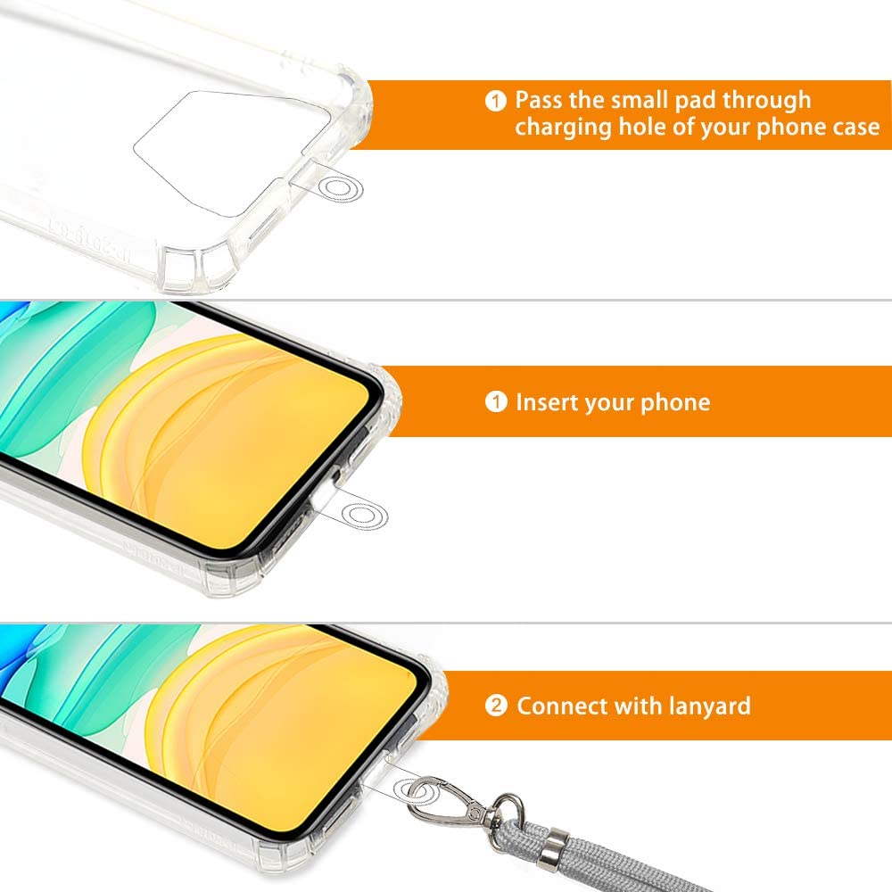 Huawei and Most Smartphones COCASES Crossbody Phone Lanyard Strap with Patch Adjustable Nylon Neck Strap Necklace Phone Lasso Compatible with iPhone Purple Galaxy