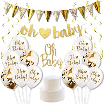 Gender Reveal Party Decorations For Gender Neutral Baby Shower Oh Baby Banner Cake Toppers Confetti Balloons And Gold Swirl Pack