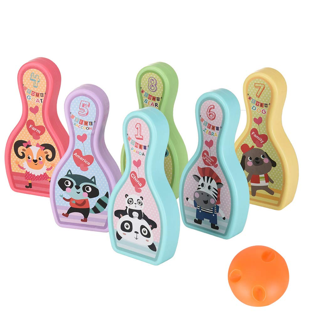 Ama-store Bowling Pins Ball Toys Small Plastics Bowling Set Fun Indoor Game with 8 Cartoon Bowling Target and 1 Balls, Educational Toy Great Gift for Baby Kids Toddlers Boys Girls, 9Pcs by Ama-store