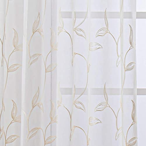 VISIONTEX White Sheer Voile Curtains, Decorative Cream Vine Leaves Embroidery Faux Linen Rod Pocket Window Drapes for Home Kitchen, Living Room and Bedroom 54 x 95 Inch, Set of 2 Curtain Panels