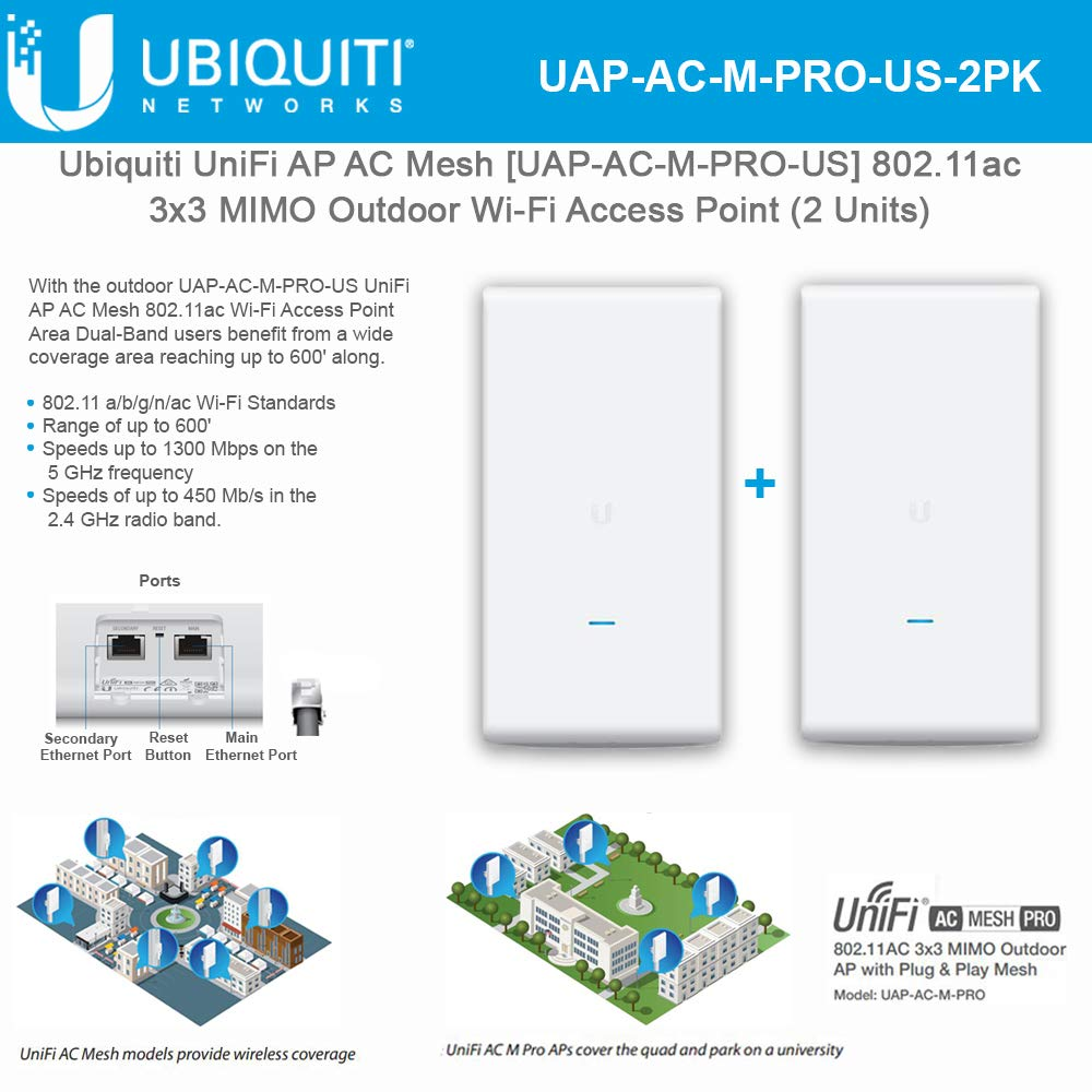 Acces Point UniFi AC Mesh UAP-AC-M-PRO-US 802.11ac 3x3 MIMO Outdoor Wi-Fi (2 Units)