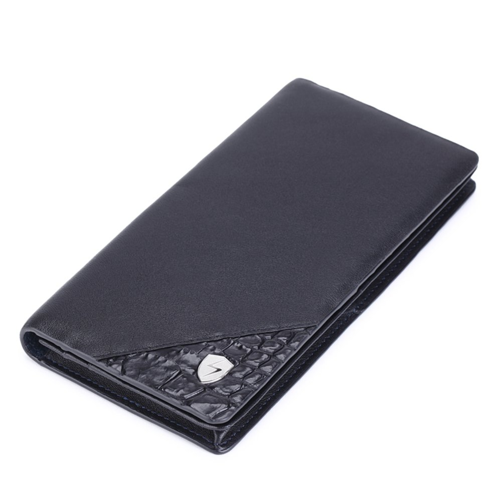 Rfid Blocking Genuine Leather Wallet Men Excellent Travel Credit Card Case Wallets Protector Money-B 19x10cm(7x4inch)