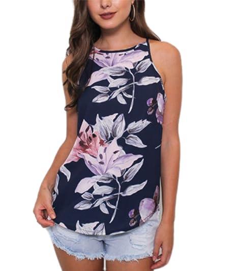 Camiseta sin Mangas con Estampado de Flores sin Mangas de Las Mujeres Chaleco Ocasional de la