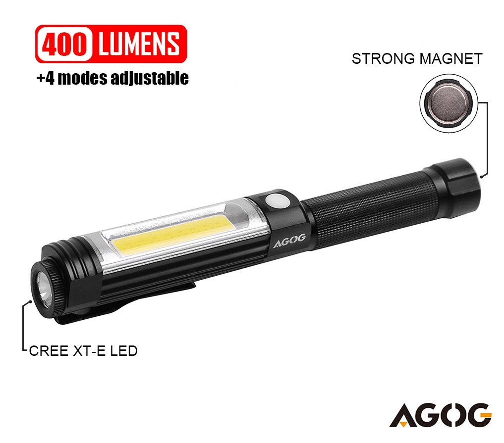 AGOG Magnetic 400 Lumens COB Work Light with LED Flashlight 4 Mode Changeable-Black Aluminum