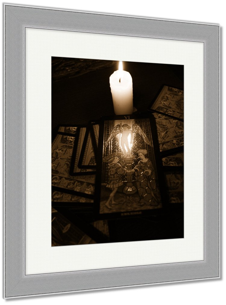 Ashley Framed Prints Divination By Tarot, Wall Art Home Decoration, Sepia, 30x26 (frame size), Silver Frame, AG6514084