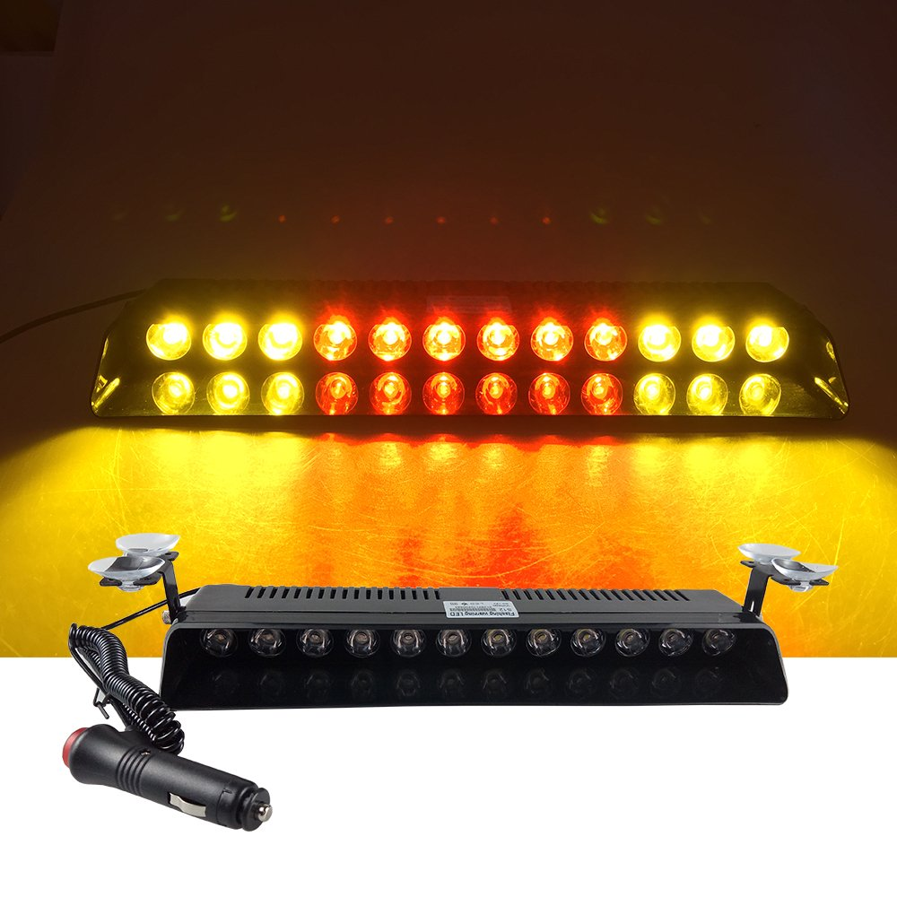 12V Car Truck Emergency Strobe Flash Light Sucker Dashboard Interior Windshield Warning Light Bar Current (12LED, Amber White Amber) AS Light