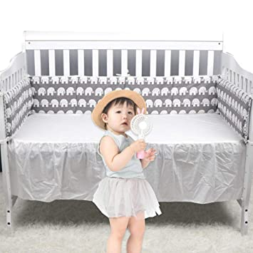 PILLOW BUMPER made form 6 cushions for cot// cot  bed GREY ELEPHANTS STARS