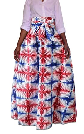 BingSai - Falda Larga para Mujer, diseño Tradicional Africano 3 L ...