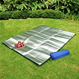 Aluminum Foil Mat Waterproof EVA Sleeping Mattress Insulated Tent Footprint Pad Moisture Proof Picnic Blanket Cushion (Thin, L)