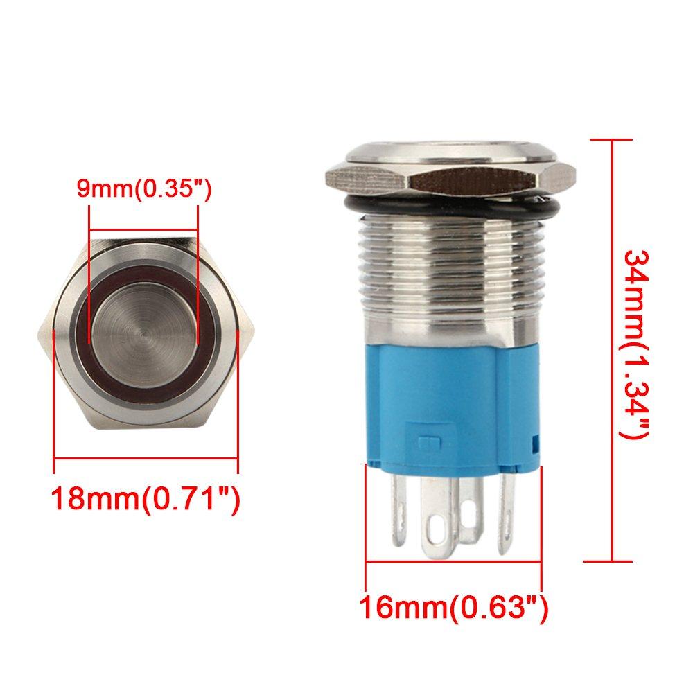 SENZEAL Interruttore automatico LED blocco 12V 3A Interruttore automatico a pulsante in acciaio inossidabile 16mm Anello LED con connettore a filo arancia