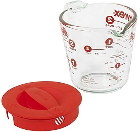 Pyrex 516-RRD-PC 2 Cup Red Measuring Cup Lid and 8 Cup Red Measuring Cup Lid