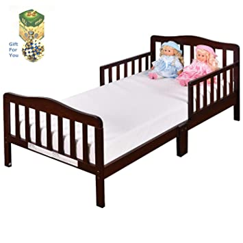 Amazoncom Baby Toddler Wooden Bed With Safety Rails Brown By