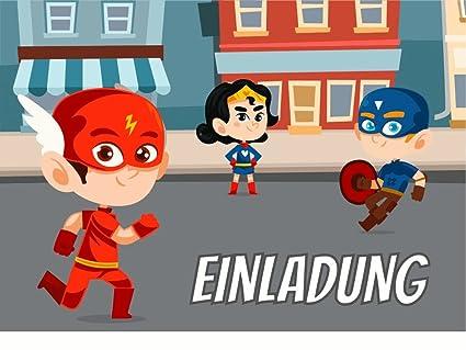 10 x Invitación Cumpleaños infantiles Super Héroes