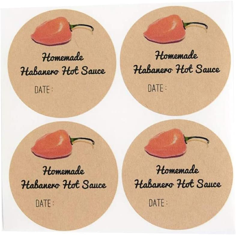 Homemade Habanero Chili Hot Sauce Labels for Mason Jars by Once Upon Supplies, Canning Supplies, Stickers for Homemade Gifts, Food Packaging, 2.5 Inches, 36 Pcs