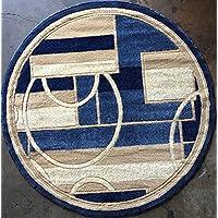 Modern Round Area Rug Blue Design #115 (4 feet X4 feet Round)