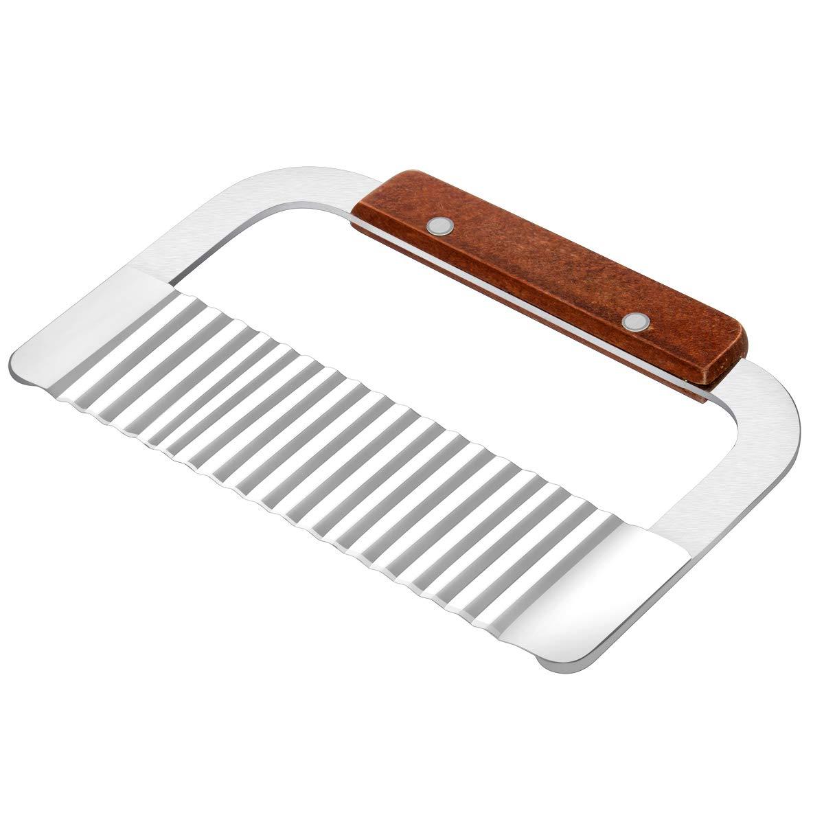 TOP KITCHEN Crinkle Cutter, Wood handle Steel Blade, Wave Crinkle Cut Tool, 7-Inch