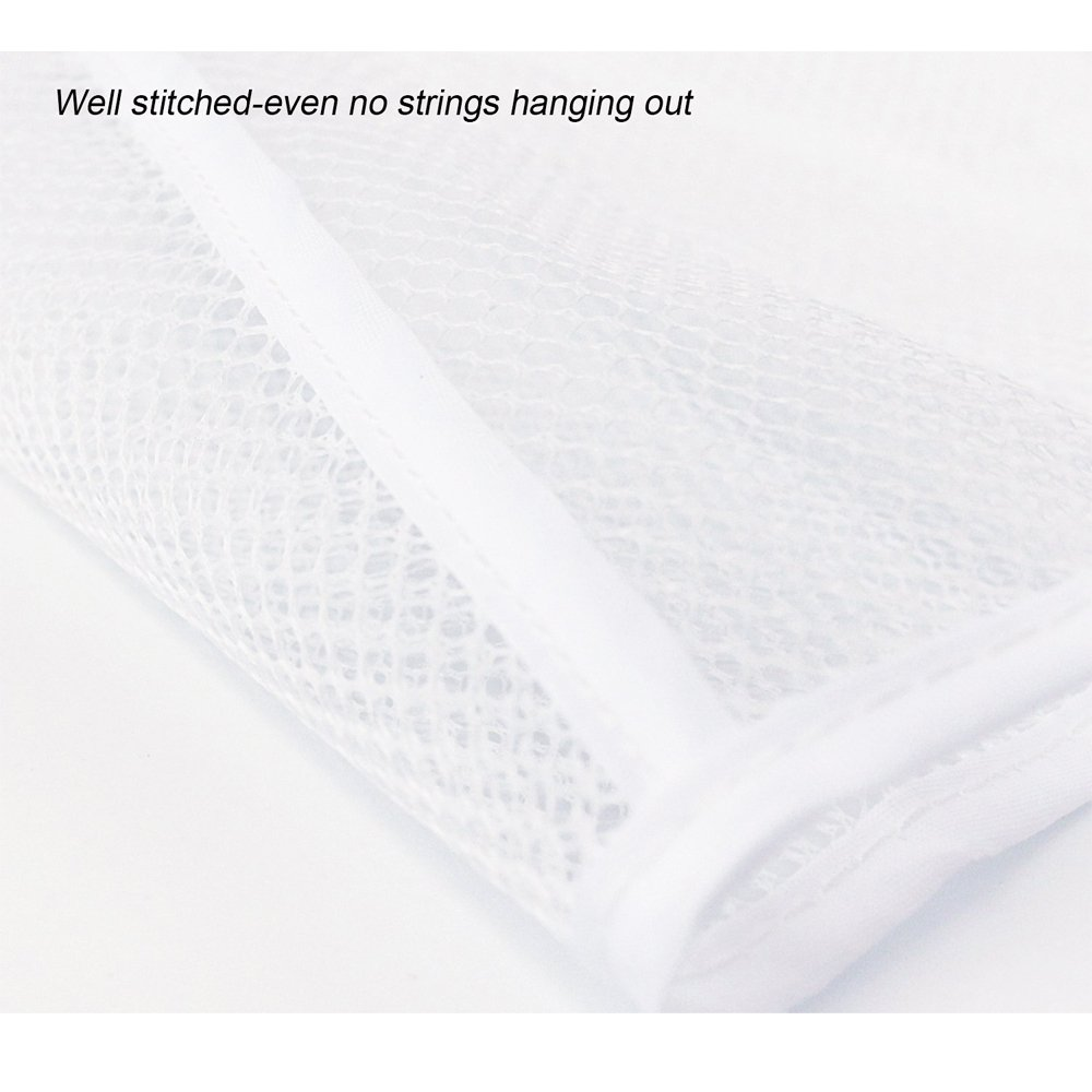Hisight 2 Pack Quick Dry Hanging Mesh Bath Shower Organizer Shower Curtain with 6 Mesh Pockets and 4 Rings Hang on Rod Liner Hook Bathroom Save Space Bag Shampoo Conditioner Soap Storage (white) by Hisight (Image #6)