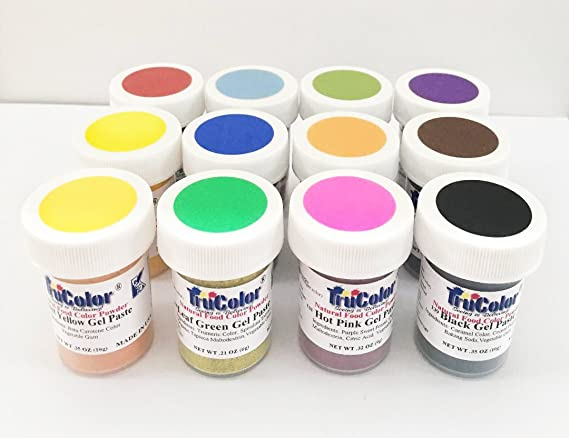 TruColor Natural Food Colour Gel Paste Powder - 12 Piece Essential ...