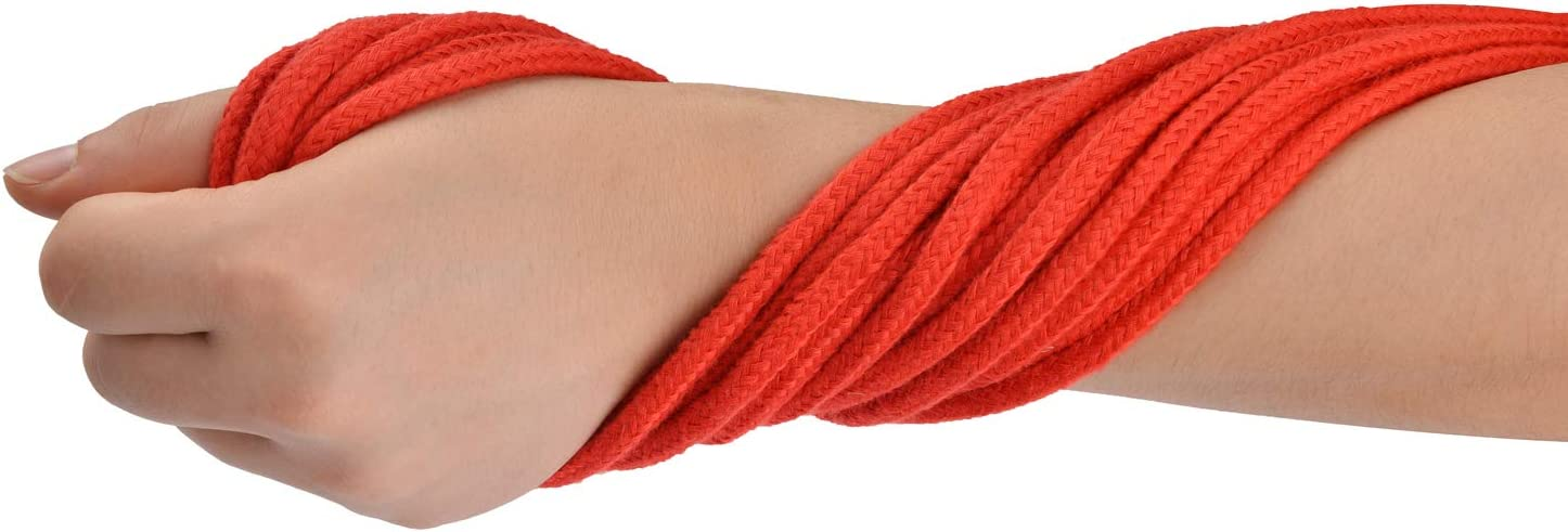 32 Feet//10 m 8mm Red 1//3 inch Diameter Thick Colored Rope Natural Utility Durable Long Twisted Braided Cord Metal End Reinforced Soft Cotton Rope Multifunction Craft Rope 2 Pcs