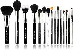 Jessup Pro Makeup Brushes 15 Pcs Makeup Brush Set Beaury Cosmetics Make Up Powder Foundation Eyeshadow Eyeliner Blending Lip Brush Tools (Black/Silver) T092