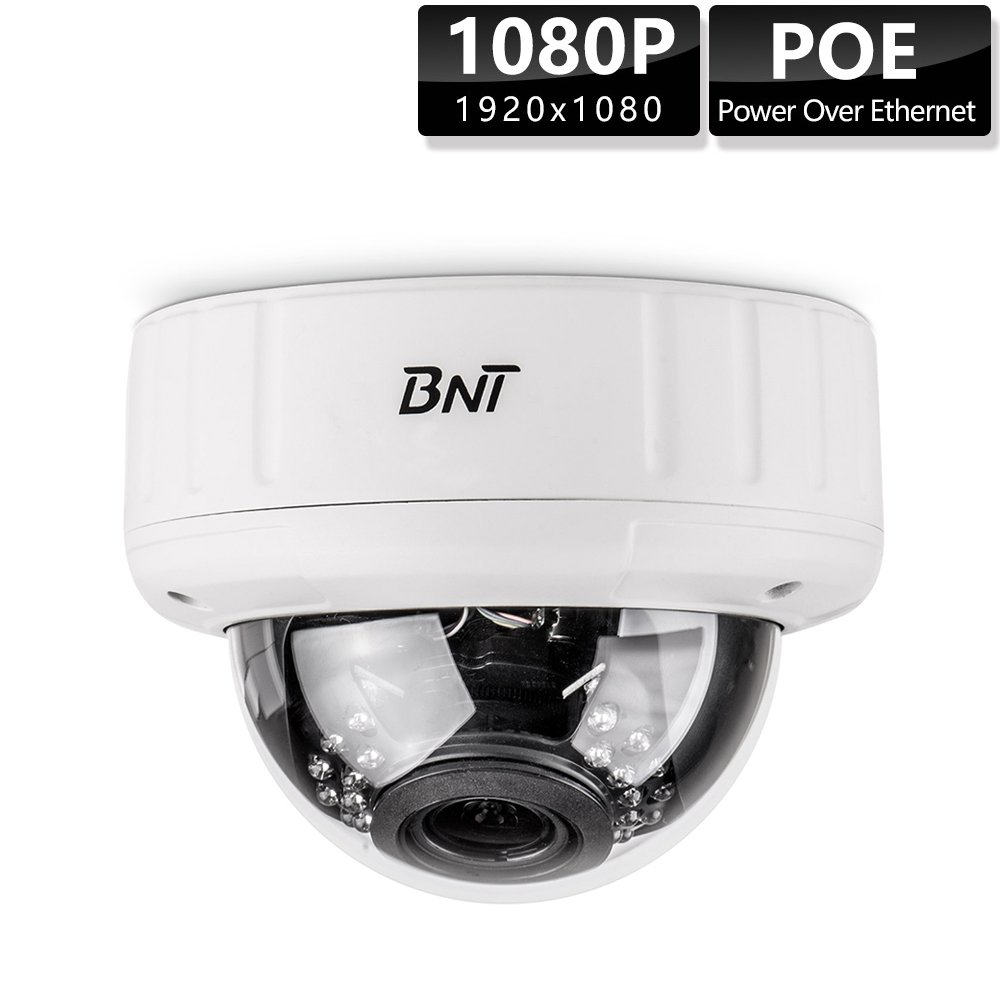 SECURITY CAMERA Dome BNT 1080P Power Over Ethernet (POE) Night Vision CCTV IP Cameras 2.8-12mm Motorized Varifocal Lens Auto Focus, No need a Power adapter by BNT