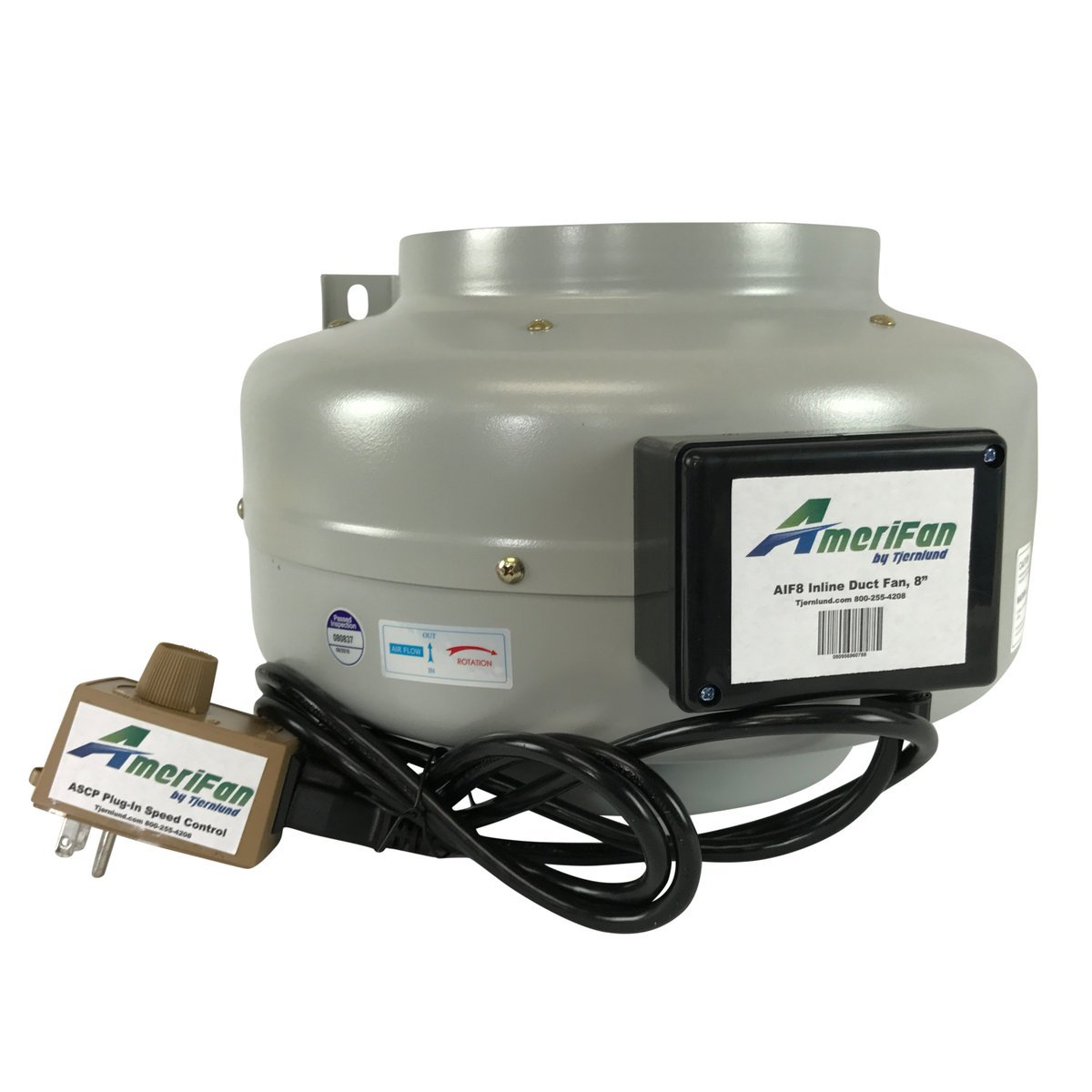 AmeriFan AIF8S Duct Booster with Speed Control, Exhaust Fan, 720 CFM, 8'', for Growing, Hydroponics, Heating, Venting, Cooling by Tjernlund, 120V Supply Voltage