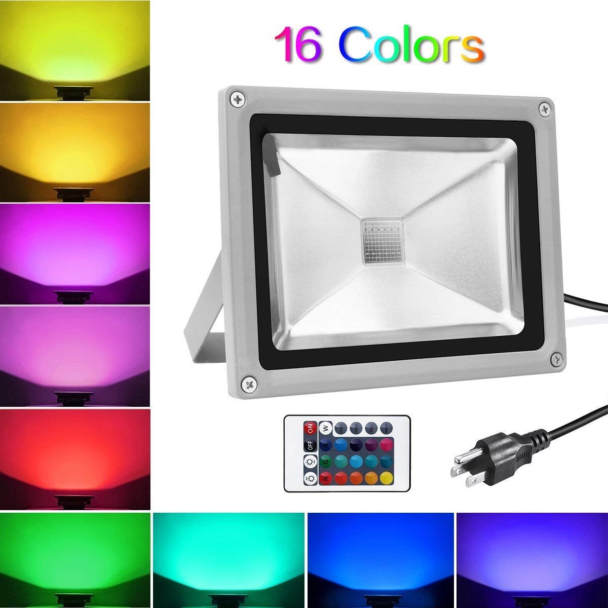 Warmoon 10W Waterproof LED Flood Light with US 3-Plug and Remote, RGB