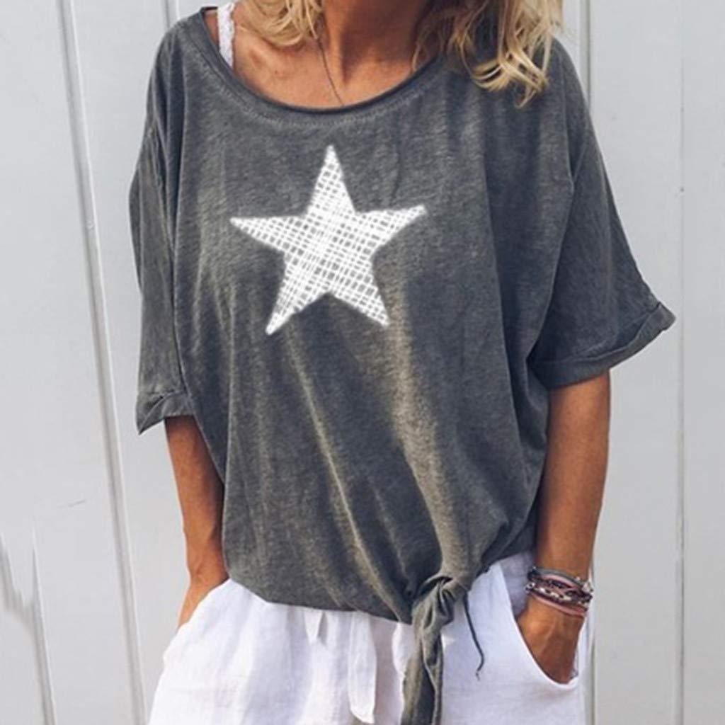 Yoyorule Summer Clothes-Top/&Dress Women Casual O-Neck Print Short Sleeve Tie Shirt Tops Blouse