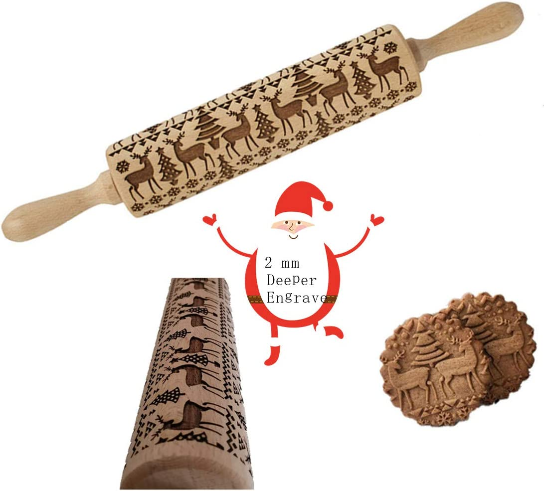 Aophire Embossed Wooden Rolling Pins with Elk Deer Pattern,Engraved 3D Holiday Rolling Pins for Baking to Decorate Cookies Waffles Pastry Dough Pies,15.3 Inches Beechwood