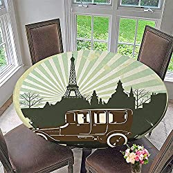 Simple modern round table cloth Decorations Classic Retro Car with Eiffel Tower Trees Building Striped Background Illustration for daily use, wedding, restaurant 43.5-47.5Round (Elastic Edge)